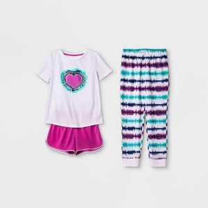 Girls' 3pc Heart Tie-Dye Pajama Set - Cat & Jack Purple
