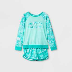 Girls' 2pc 'Always Dreaming' Tie-Dye Pajama Set - Cat & Jack Green