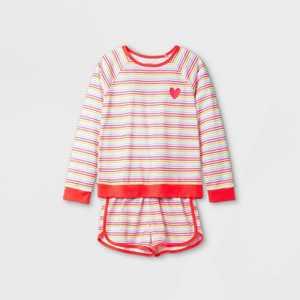 Girls' 2pc Heart Rainbow Pajama Set - Cat & Jack White