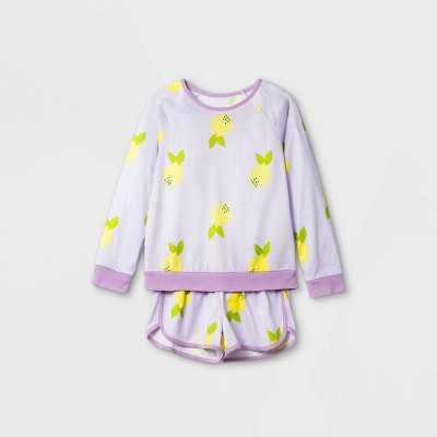 Girls' 2pc Lemon Print Pajama Set - Cat & Jack Purple