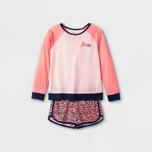 Girls' 2pc Tiger Print Pajama Set - Cat & Jack Pink