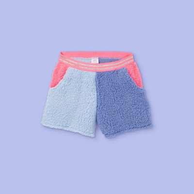 Girls' Colorblock Sherpa Pajama Shorts - More Than Magic Blue