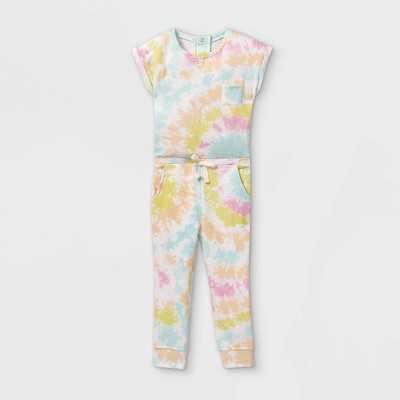 Grayson Mini Toddler Girls' Tie-Dye Short Sleeve Jumpsuit - Pink