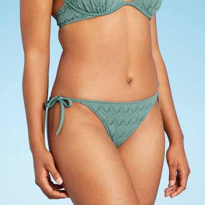 Women's Crochet Textured Side-Tie Cheeky Bikini Bottom - Shade & Shore Cactus Green