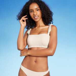 Women's Lightly Lined Shoulder Tie Ribbed Bralette Bikini Top - Shade & Shore Cream