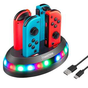 Insten For Nintendo Switch Joy-Con Controller Charging Dock Station Joy Con RGB LED Flash Light Indicator Charger Stand