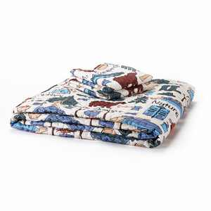 Lakeside Outdoor Sentiments Campsite Twin Size Quilt with Matching Pillow Case
