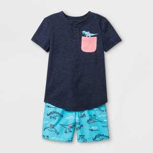 Toddler Boys' 2pc Dino Short Sleeve Graphic T-Shirt and Woven Shorts Set - Cat & Jack Navy