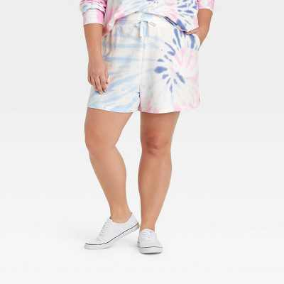 Women's Plus Size Tie-Dye Shorts - Ava & Viv Blue