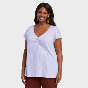 Women's Plus Size V-Neck  Ruched T-Shirt - Ava & Viv Lavender
