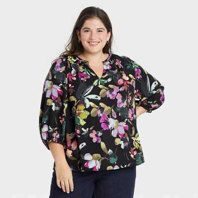 Women's Plus Size 3/4 Sleeve Popover Blouse - Ava & Viv