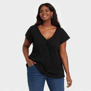 Women's Plus Size Short Sleeve V-Neck T-Shirt - Ava & Viv