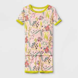 Girls' 2pc Floral Print Tight Fit Pajama Set - Cat & Jack Pink