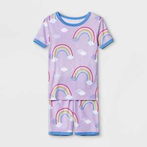 Girls' 2pc Rainbow Print Tight Fit Pajama Set - Cat & Jack Purple