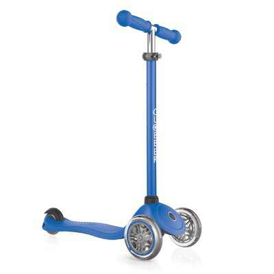Globber Primo Navy Blue 3-Wheel Kids Kick Scooter with Adjustable Height and Comfortable Grips for Boys and Girls