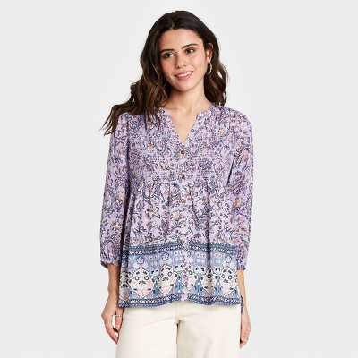 Women's Paisley Print Long Sleeve Smocked Button-Down Top - Knox Rose