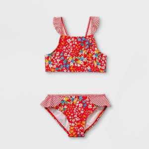 Girls' Floral Ruffle Print Bikini Set - Cat & Jack Red
