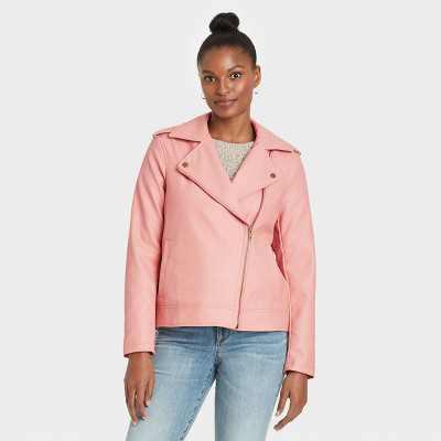 Women's Zipper Moto Jacket - Universal Thread Pink