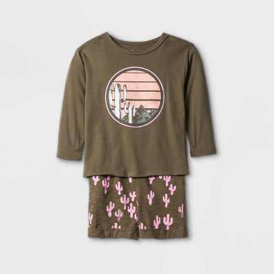 Toddler Boys' 2pc Cactus Long Sleeve T-Shirt & Shorts Set - art class Washed Brown/Pink