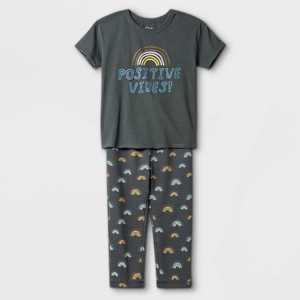 Toddler Boys' 2pc Positive Vibes Short Sleeve T-Shirt & Rainbow Sweatpants Set - art class Washed Navy