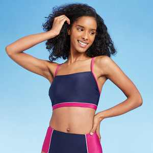 Women's Longline Square Neck Bikini Top - All in Motion Cranberry/Navy Colorblock