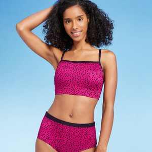 Women's Longline Square Neck Bikini Top - All in Motion Cranberry Dot