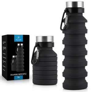 Zulay Kitchen Portable Water Bottle Collapsible - Black