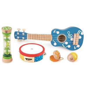 Hape Preschool Toddler Age 3 and Up 5 Piece Wood Plastic Toy Instrument Band Set with Ukuleke, Tambourine, Castanet, Rainstick, and Maraca