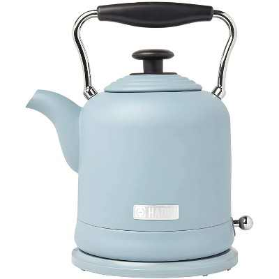 Haden Highclere Vintage Retro 1.5 Liter/6 Cup Capacity Innovative Cordless Electric Stainless Steel Tea Pot Kettle with 360 Degree Base, Pool Blue
