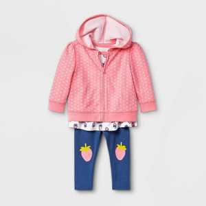 Baby Girls' 3pc Strawberry Hoodie Top & Bottom Set - Cat & Jack Pink