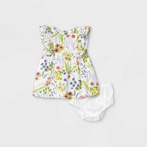 Baby Girls' Floral Gauze Shoulder Ruffle Dress - Cat & Jack Cream