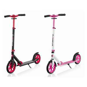 Globber Lightweight Adjustable Foldable 2-Wheel Kick Scooter for Kids, Teens, and Adults, 220 Pound Capacity, Red and Pink (2 Pack)