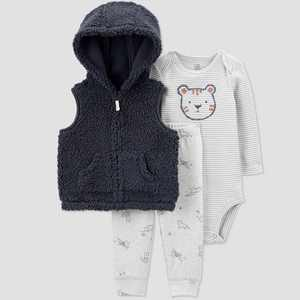 Baby Boys' Tiger Sherpa Vest Top & Bottom Set - Just One You made by carter's Gray