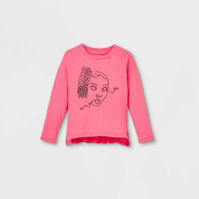 Black History Month Toddler Silhouette Long Sleeve Graphic T-Shirt - Pink