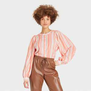 Women's Balloon Long Sleeve Button-Down Femme Top - A New Day