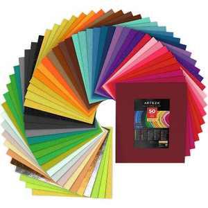 """Arteza Stiff Felt Fabric, Assorted Colors, 12""""x14"""" Sheets - 50 Pack (ARTZ-8419)"""