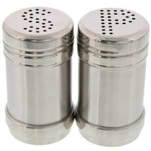 """Juvale 2-Piece Stainless Steel 2oz Salt and Pepper Shakers Dispenser, 2""""x3"""", Silver"""