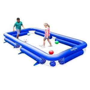 HearthSong - Inflatable Soccer Pool Backyard Game for Kids and Adults, Includes Seven Inflatable Balls