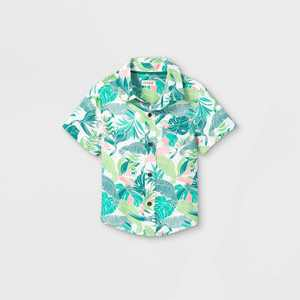 Toddler Boys' Floral Print Challis Woven Short Sleeve Button-Down Shirt - Cat & Jack Green