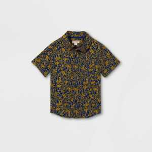 Toddler Boys' Tiger Print Challis Woven Short Sleeve Button-Down Shirt - Cat & Jack Blue