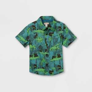 Toddler Boys' Dino Print Challis Woven Short Sleeve Button-Down Shirt - Cat & Jack Blue