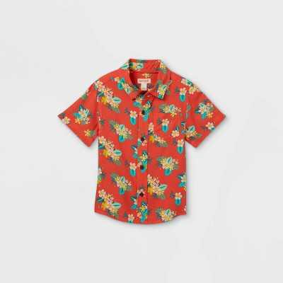 Toddler Boys' Floral Print Challis Woven Short Sleeve Button-Down Shirt - Cat & Jack Orange