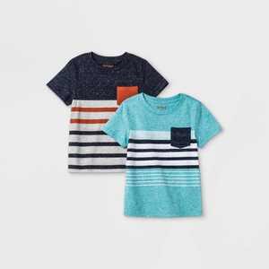Toddler Boys' 2pk Striped Short Sleeve T-Shirt - Cat & Jack Navy/Teal