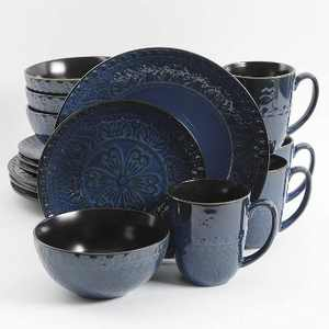 Gibson 124303.16R Elite Milanto Embossed Glazed Durable 16 Piece Dinnerware Set, Microwave and Dishwasher Safe, Blue