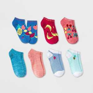 Girls' 7pk Fruit No Show Socks - Cat & Jack Blue