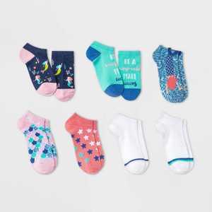 Girls' 7pk Mermaid No Show Socks - Cat & Jack Navy