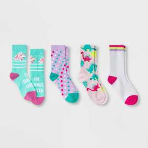Girls' 4pk Dino Crew Socks - Cat & Jack Light Pink