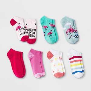 Girls' 7pk Flamingo No Show Socks - Cat & Jack Light Blue