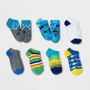 Boys' 7pk Shark No Show Socks - Cat & Jack Blue