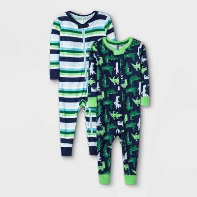 Toddler Boys' 2pk Alligator 100% Cotton Snug Fit Pajama Jumpsuit - Cat & Jack Green